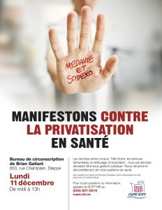 Manifestation contre la privatisation en santé @ Bureau de circonscription du PM Gallant | Dieppe | Nouveau-Brunswick | Canada